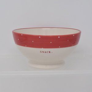 Rae Dunn Snack Bowl Red White Polka Dot Trim New